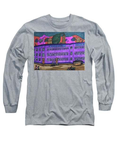 Long Sleeve T-Shirt featuring the drawing Richardson Shoe Company. by Jonathon Hansen