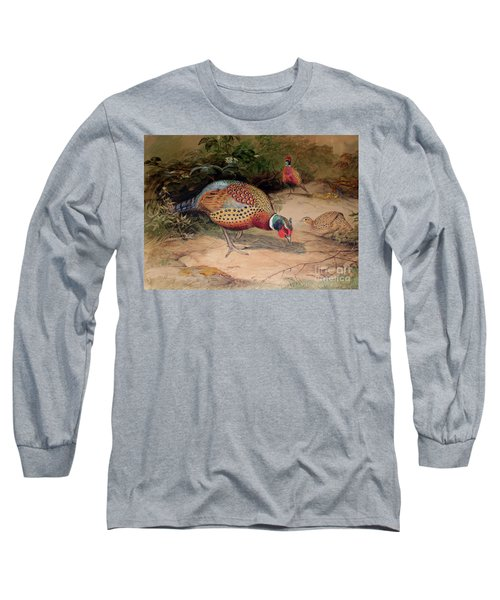 Ring Necked Pheasant Long Sleeve T-Shirt by Joseph Wolf