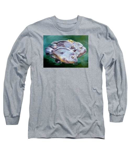 Long Sleeve T-Shirt featuring the painting Rio Grande Cichlids by Phyllis Beiser
