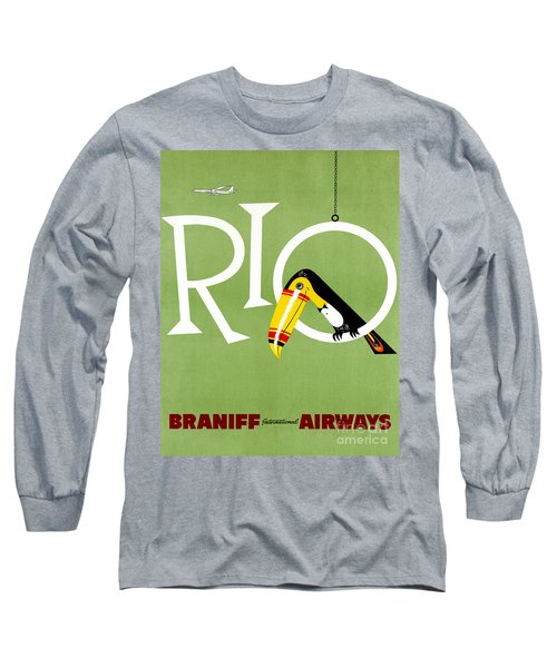 Rio Vintage Travel Poster Restored Long Sleeve T-Shirt