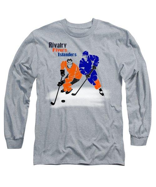 Long Sleeve T-Shirt featuring the photograph Rivalry Flyers Islanders Shirt by Joe Hamilton