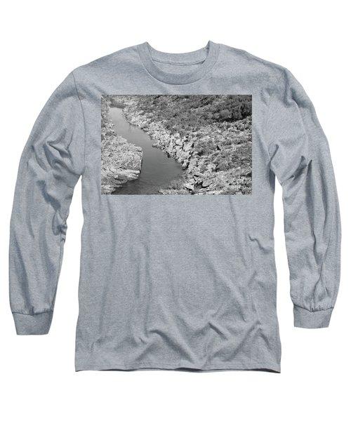 River On The Rocks. Bw Version Long Sleeve T-Shirt