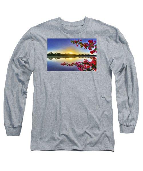 River Sunrise Long Sleeve T-Shirt by Nadia Sanowar