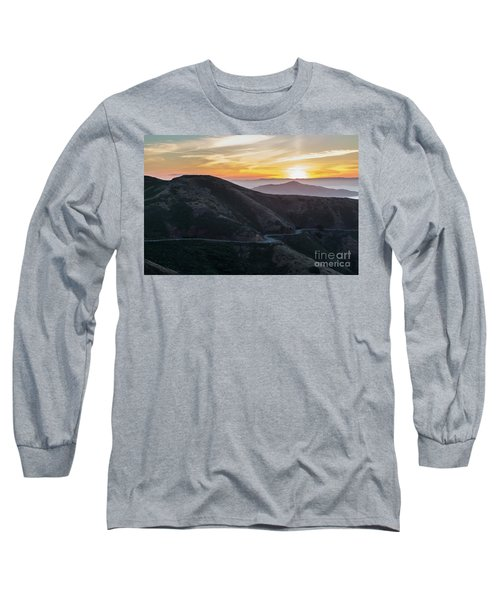 Road On The Edge Of The Mountain With Sunrise In The Background Long Sleeve T-Shirt