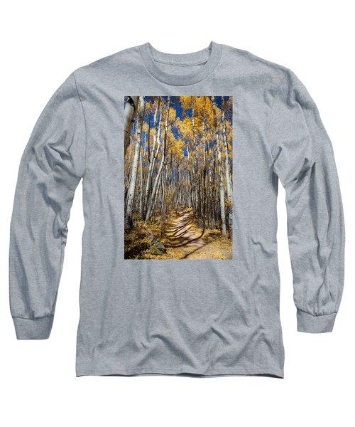 Road Through Aspens Long Sleeve T-Shirt by Michael J Bauer