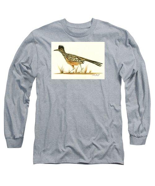 Roadrunner Bird Long Sleeve T-Shirt by Juan Bosco