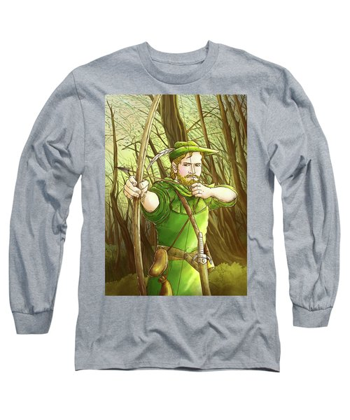 Robin  Hood In Sherwood Forest Long Sleeve T-Shirt by Reynold Jay
