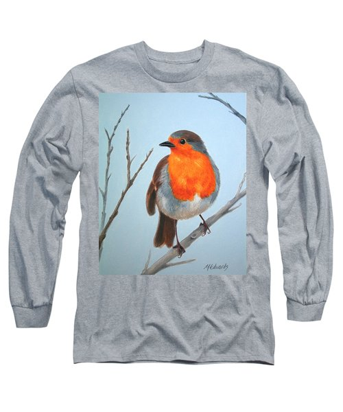 Robin In The Tree Long Sleeve T-Shirt by Marna Edwards Flavell