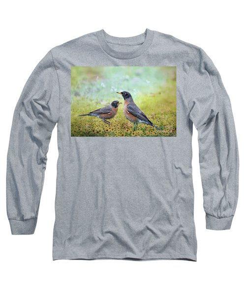 Robins, Heralds Of Spring Long Sleeve T-Shirt by Bonnie Barry