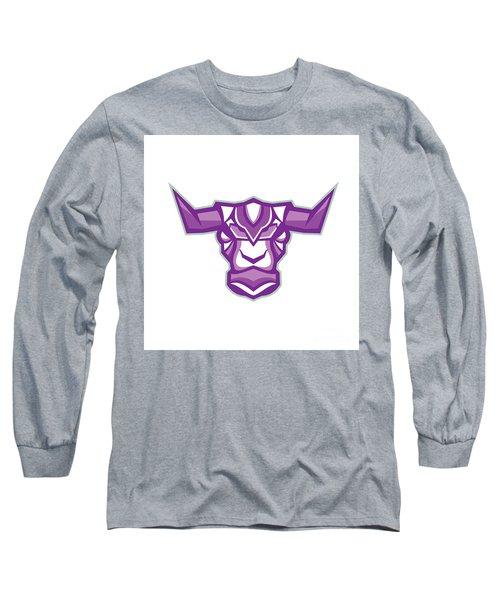 Robot Yak Bull Head Front Long Sleeve T-Shirt