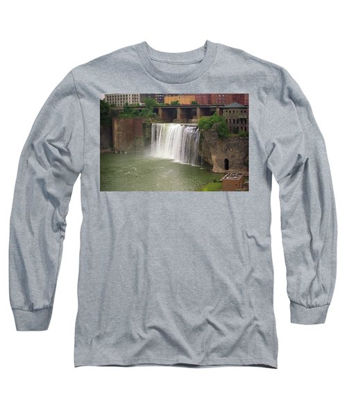 Long Sleeve T-Shirt featuring the photograph Rochester, New York - High Falls by Frank Romeo