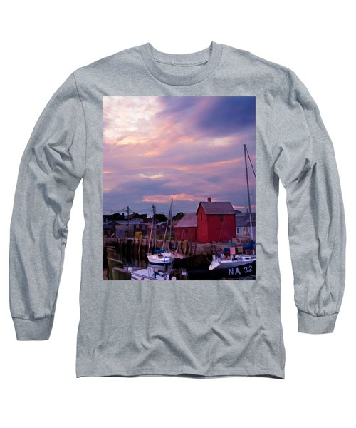 Long Sleeve T-Shirt featuring the photograph Rockport Sunset Over Motif #1 by Jeff Folger