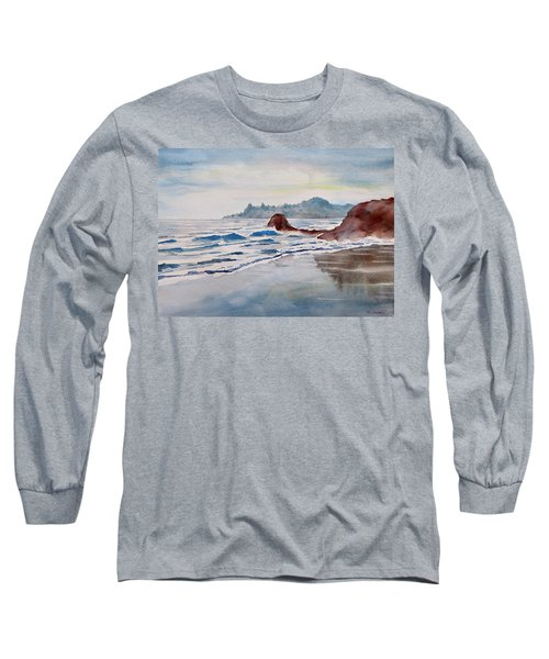 Long Sleeve T-Shirt featuring the painting Rocky Beach by Geni Gorani
