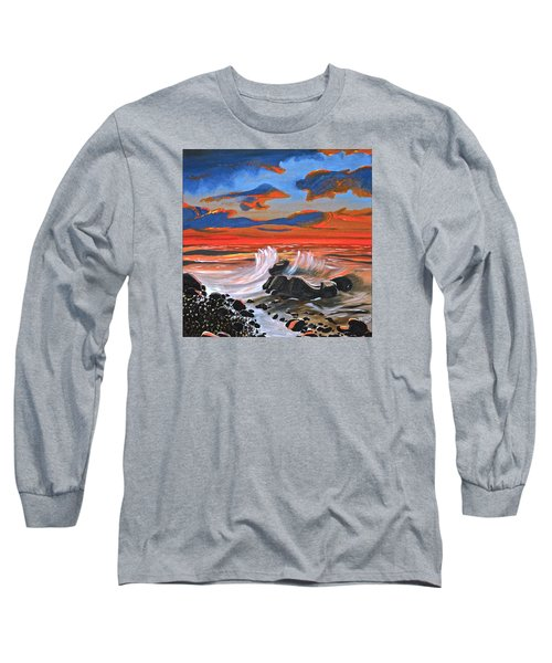 Long Sleeve T-Shirt featuring the painting Rocky Cove by Donna Blossom