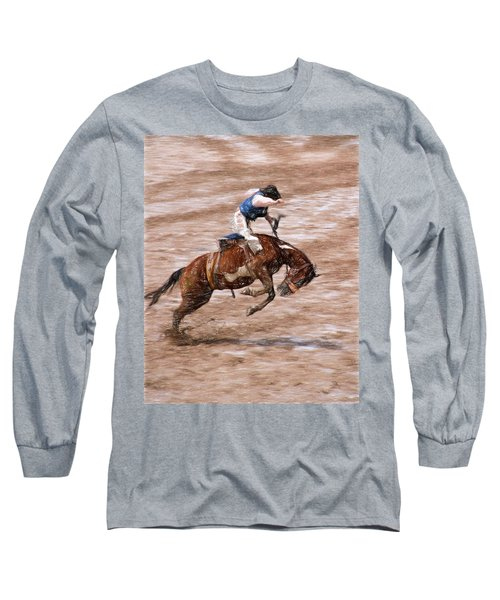 Long Sleeve T-Shirt featuring the photograph Rodeo Bronc Rider by John Freidenberg