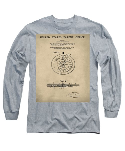 Rolex Watch Patent 1999 In Old Style Long Sleeve T-Shirt
