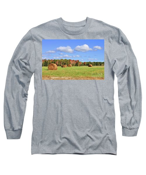 Rolls Of Hay On A Beautiful Day Long Sleeve T-Shirt