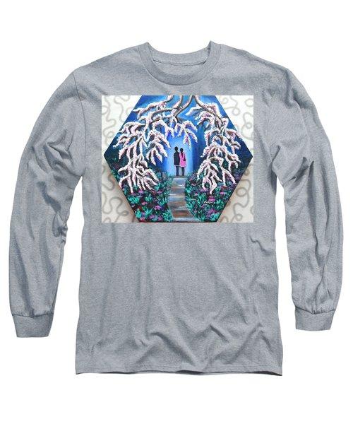 Romance Under Cherry Blossom Textured Hexagonal Painting  Long Sleeve T-Shirt