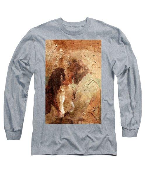 Long Sleeve T-Shirt featuring the digital art Romantic Kiss by Andrea Barbieri