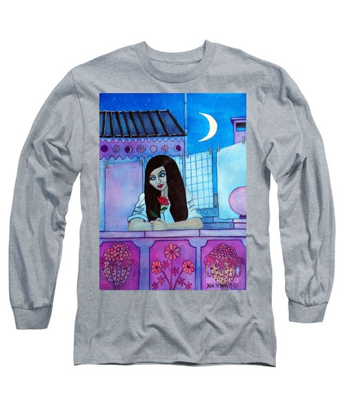 Romantic Woman In The Terrace At Night Long Sleeve T-Shirt by Don Pedro De Gracia