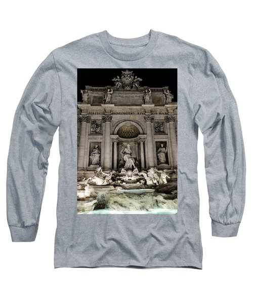 Rome - The Trevi Fountain At Night 3 Long Sleeve T-Shirt