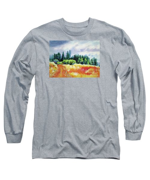 Long Sleeve T-Shirt featuring the painting Romp On The Hill by Kathy Braud