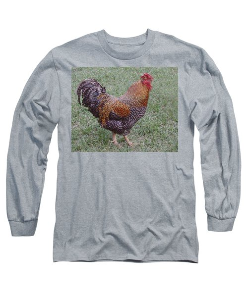Long Sleeve T-Shirt featuring the painting Rooster by Roena King