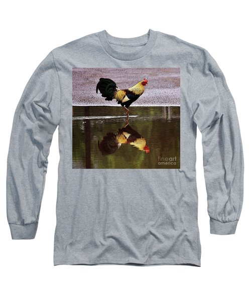 Rooster's Reflection Long Sleeve T-Shirt by Craig Wood