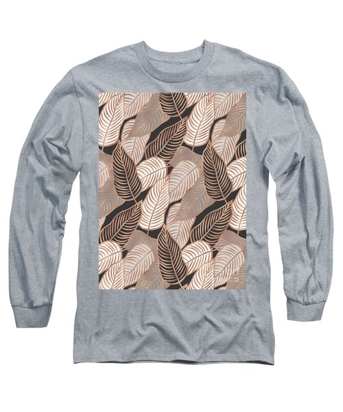 Rose Gold Jungle Leaves Long Sleeve T-Shirt