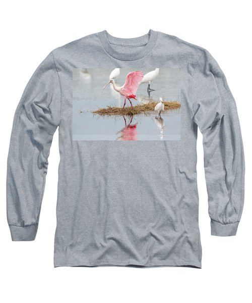 Roseate Spoonbill Flapping Wing While Looking For Food Long Sleeve T-Shirt