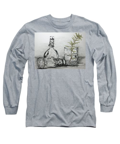 Long Sleeve T-Shirt featuring the drawing Rosemary by Terri Mills