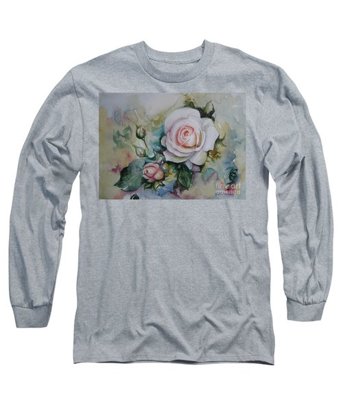 Long Sleeve T-Shirt featuring the painting Roses by Elena Oleniuc