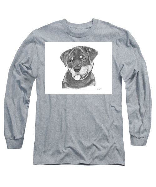 Long Sleeve T-Shirt featuring the drawing Rottweiler Puppy- Chloe by Patricia Hiltz
