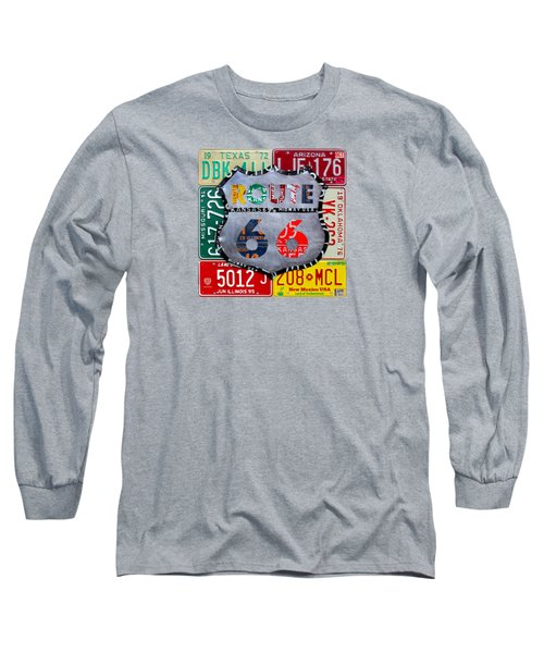 Route 66 Highway Road Sign License Plate Art Long Sleeve T-Shirt by Design Turnpike