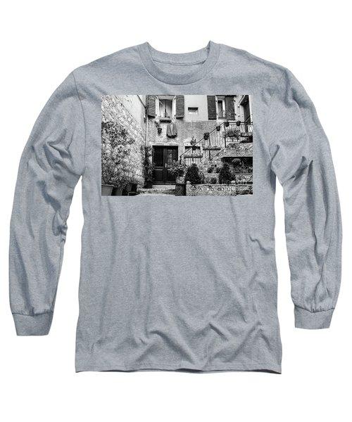 Rovinj Old Town Courtyard In Black And White, Rovinj Croatia Long Sleeve T-Shirt