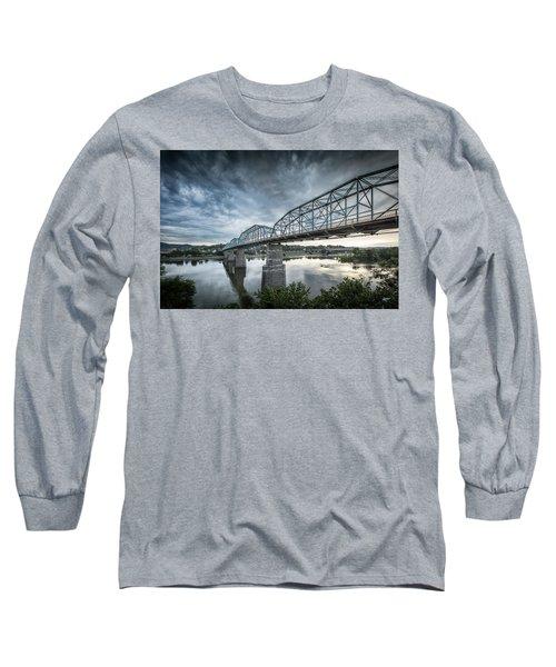 Rowing Under Walnut Street Long Sleeve T-Shirt by Steven Llorca