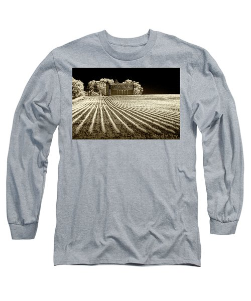 Rows In A Farm Field With Barn And Silo In Infrared Sepia Tone Long Sleeve T-Shirt