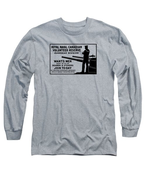 Long Sleeve T-Shirt featuring the mixed media Royal Naval Canadian Volunteer Reserve by War Is Hell Store