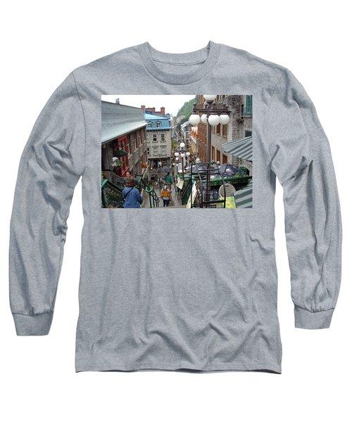 Long Sleeve T-Shirt featuring the photograph rue du Petit Champlain by John Schneider
