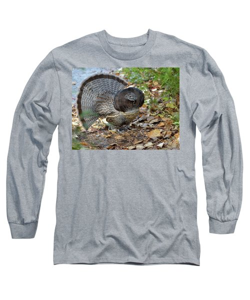 Ruffed Up- Ruffed Grouse Displaying Long Sleeve T-Shirt by David Porteus