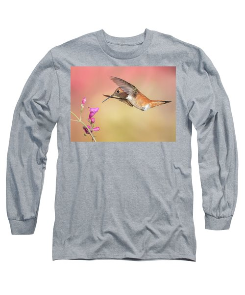 Rufous Hummingbird With Penstemon Long Sleeve T-Shirt