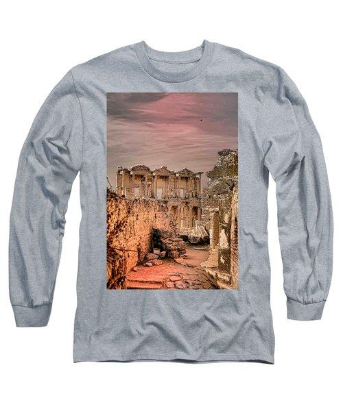 Ruins Of Ephesus Long Sleeve T-Shirt by Tom Prendergast