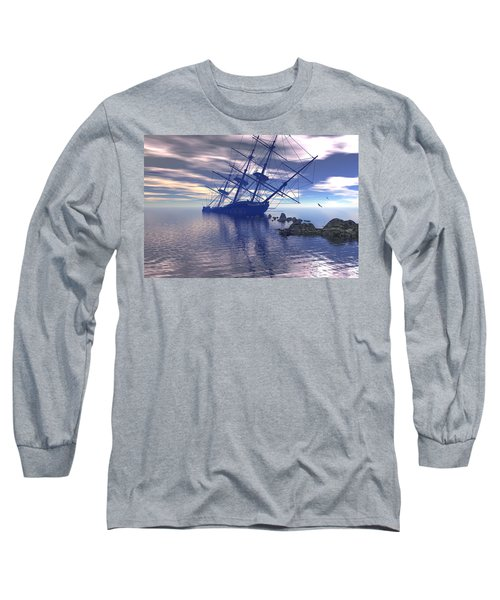 Long Sleeve T-Shirt featuring the digital art Run Aground by Claude McCoy