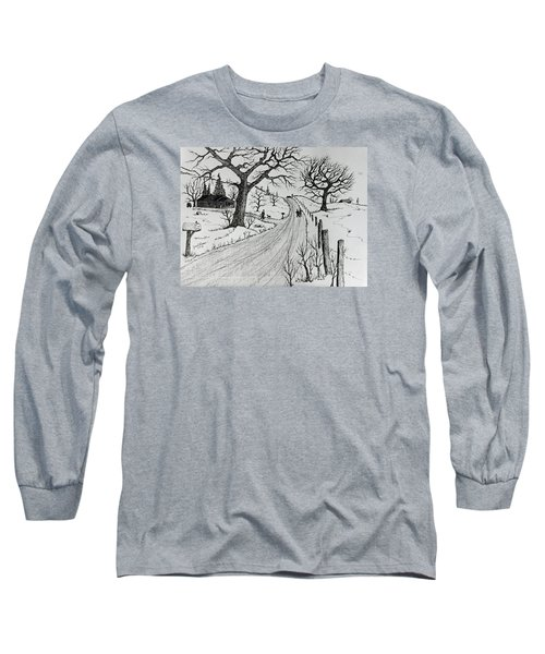 Long Sleeve T-Shirt featuring the drawing Rural Living by Jack G Brauer