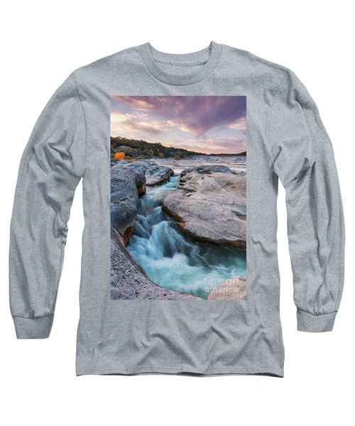 Rushing Waters At Pedernales Falls State Park - Texas Hill Country Long Sleeve T-Shirt
