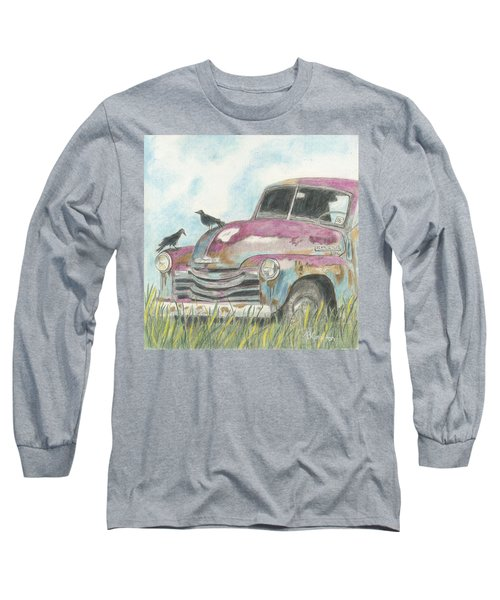 Long Sleeve T-Shirt featuring the drawing Rust In Peace by Arlene Crafton