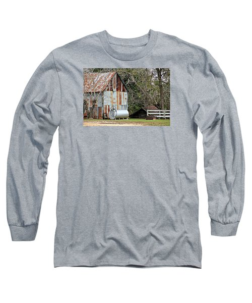 Rusted Tin Shed In Burnt Corn Long Sleeve T-Shirt