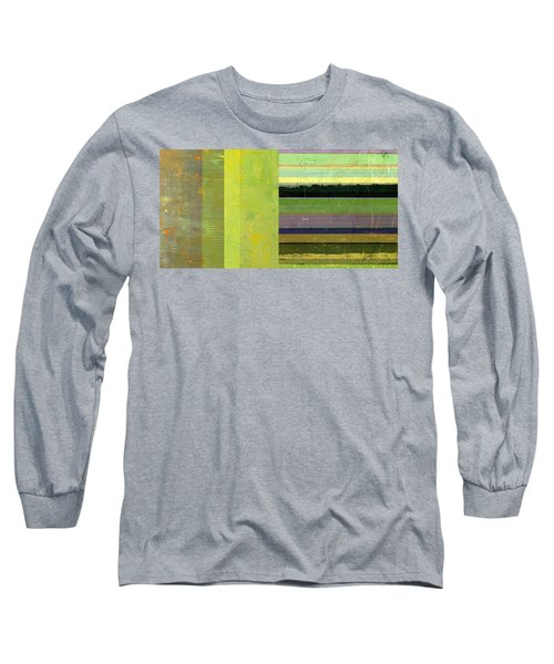 Long Sleeve T-Shirt featuring the painting Rustic Green Flag With Stripes by Michelle Calkins