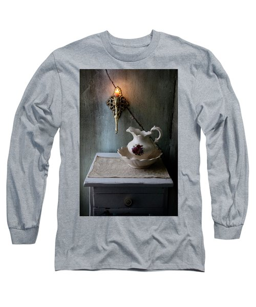Rustic Water Closet With Brass Sconce And A Pretty Floral Patter Long Sleeve T-Shirt