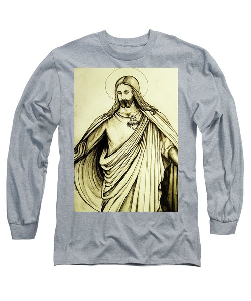 Sacred Heart Long Sleeve T-Shirt by Mary Ellen Frazee